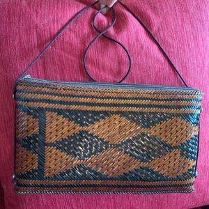 Handbags - Vintage Philippine Woven Cane Clutch/Shoulder Bag